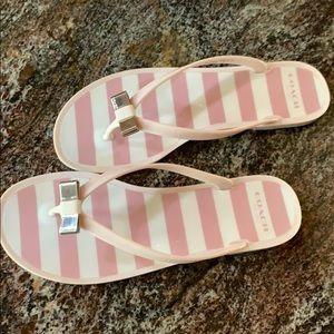 Coach pink/white flip flops size 8